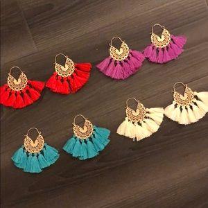 Set of brand new gold hoop fringe earrings.